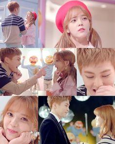 AOA Jimin 신지민 . EXO 엑소 Xiumin 시우민 are a romantic couple in the MV of CALL YOU BAE