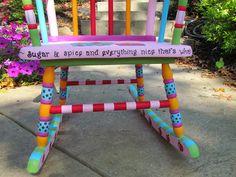 Hand painted children's rocking chair Shopdog Furniture