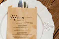 Wedding Favor Menu Bag Classic Brown Bag Kraft Menu by mavora
