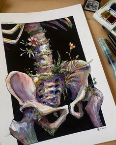 Skeleton Flower, Gouache, Heart With Flowers, Skeletons, Art About Love, Watercolor Heart, Watercolor Drawing, Bone Drawing, Skeleton Anatomy