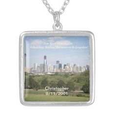 New York City view from New Jersey.  PERSONALIZE with a special loved ones NAME.  Square Necklaces available in Sterling Silver, Silver Plated and Gold Finishes.  Marina, pretty fluffy clouds blue sky.  See store for design on Mugs, Ornaments, Tiles, etc.  Original Photography & Quote Text saying design by TamiraZDesigns  via:  www.zazzle.com/tamirazdesigns*