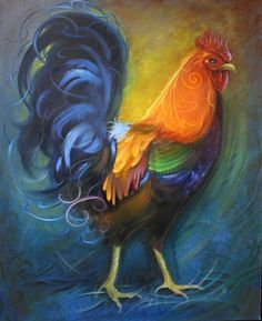 Oil Painting - Rippen Rooster by Joshua South