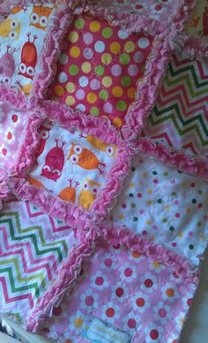 Rag Quilt Baby Girl Owls Urban Zoologie Remix by flutterflybaby,