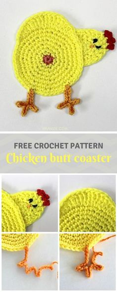 How funny is this Chicken butt coaster!? Great for #Easter, farmers and chicken lovers! Free #crochet #pattern can be found on wilmade.com