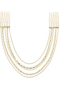 Jennifer Behr Gold-tone tiered multi-chain headpiece | NET-A-PORTER