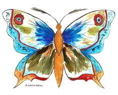 SCHITE FLUTURI | Adelina Mărieş - design Moth, Rooster, Insects, Artist, Artwork, Painting, Animals, Work Of Art, Animaux