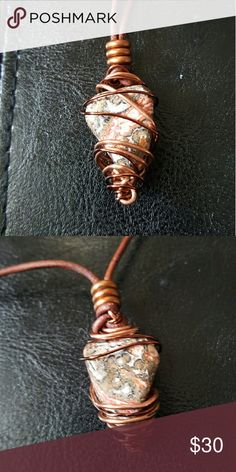 Messy_Boutiqu3 - Hand Wrapped Jaguar Stone -Leopard Skin Jasper AKA Jaguar Stone on adjustable leather cord. - This stone is utilized when attempting to communicate better w/ the animal kingdom. It is said to be connected with shamanism, making it an excellent aid for out of body experiences. It is closely associated with strength and vitality. It is considered a powerful protection stone and is known for its healing energies. It is a strong reminder that we are all here to help each other…