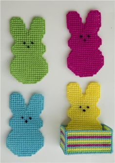 sewing A Lighthearted Look at Bedwetting Alarms The reactions of an older sibling are greatly enhanc Plastic Canvas Stitches, Plastic Canvas Coasters, Plastic Canvas Crafts, Plastic Canvas Patterns, Cute Coasters, Easter Crochet Patterns, Knitting Patterns, Craft Stick Crafts, Craft Ideas