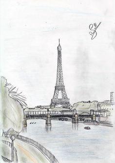 Der Eiffelturm von der île de cygnes aus gesehen