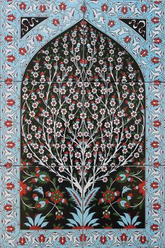 Turkish Iznik Tree of Life Pattern Handpainted Ceramic Tile PANEL Mural Turkish Tiles, Turkish Art, Tile Murals, Tile Art, Tableaux D'inspiration, Celtic, Turkish Pattern, Globe Art, Islamic Patterns