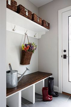 Jamie, this is a very simple plan for mudroom. Gray mudroom paint color is Benjamin Moore Stonington Gray. Style At Home, Decoration Hall, Cape Cod Cottage, Mudroom Laundry Room, Shoe Rack Mudroom, Mudroom Shelf, Shoe Racks, Luxury Interior Design, Home Fashion