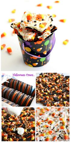 Halloween Candy Corn Cookie Bark - Oreos, pretzels, candy corn, and white chocolate.