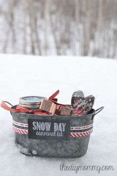 Who could't use a snow day survival kit, packed with hot cocoa mix and everything you need to make sugar cookies? Get the tutorial and printables at The DIY Mommy. What you'll need:Tin basket ($10; amazon.com); Mason Jar ($23 for set of 12;amazon.com); Cookie cutter ($4; amazon.com); Sugar cookie mix ($9; amazon.com); Hot chocolate mix ($11; amazon.com)