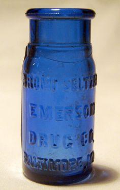 Antique Cobalt Blue BromoSeltzer bottle Circa by AntiqueAlchemists, $15.00
