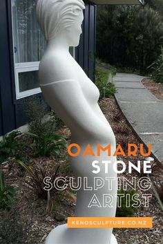 Oamaru Stone Carving Sculpture 'Celeste' commission, now situated in her new home. Designed and created by Brett Keno Stone Carving, Sculpting, Concrete, Artists, Diy, Design, Maori, Do It Yourself, Bricolage