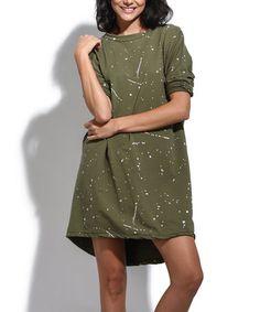 Love this Khaki Splatter Long-Sleeve Shift Dress on #zulily! #zulilyfinds