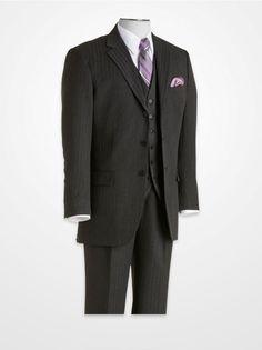 Men's Suits - FUBU Gray Tonal Stripe Vested Suit