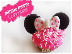 Minnie Mouse cupcakes~                 By The 290ss, #, pink, polka dot bow, mouse ears