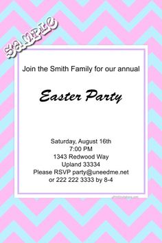 Chevrons Easter Invitations ANY COLOR SCHEME - Digital Download - Get these invitations RIGHT NOW. Design yourself online, download and print IMMEDIATELY! Or choose my printing services. No software download is required. Free to try! Easter Invitations, Holiday Invitations, Diy Invitations, All Holidays, Easter Party, Choose Me, Printing Services, All The Colors, Rsvp