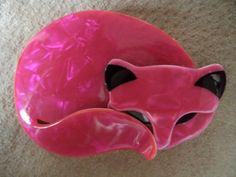 Another one! vintage Signed Lea Stein Pink Cat.
