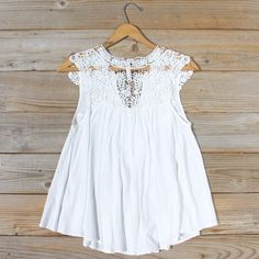 Shaded Peach Top in White, Women's Bohemian Lace Tops from Spool 72. | Spool No.72