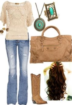 Love the jeans, boats, purse, and hair