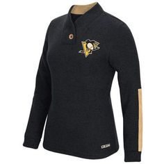 Women's Pittsburgh Penguins CCM Black Pullover Shawl Sweater