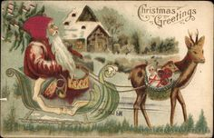 Christmas Greetings - Santa Claus with Reindeer and Sleigh