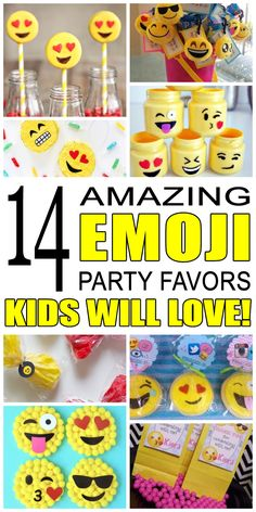 dbed18f0 DIY emoji party favors for kids. Awesome emoji birthday party favor ideas  from goodie bags