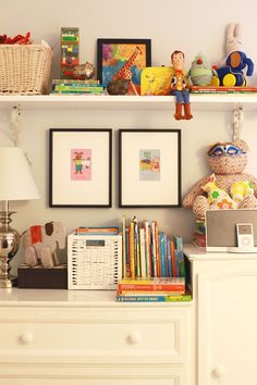 Cute and eclectic way to display and store toys and books!