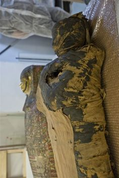 The female mummy from the National Museum in Warsaw next to the coffin that contained it.