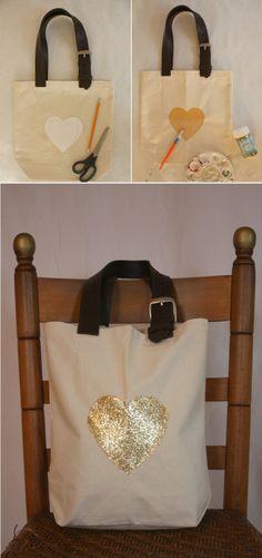 life in mod.: Bag Me / DIY: Sparkle Heart Canvas Bag