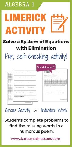 Looking for a fun way to help your students solve quadratic equations by factoring? My students love these little limerick fun activities. They solve the quadratic equations and use the answers to find the missing words in the short funny poem. Algebra Activities, Math Resources, Teaching Math, Fun Activities, Teaching Ideas, Short Funny Poems, Simplifying Expressions, Systems Of Equations, Order Of Operations