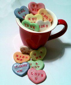Sale Valentines Conversation Heart Salt Dough Bowl by dekapo