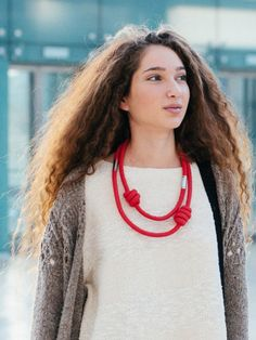 Red rope necklace with stainless steel closure by annaperevalov Jewelry Knots, Red Jewelry, Braided Necklace, Rope Necklace, Red Rope, Red Accessories, Fabric Necklace, Red And Grey, Statement Jewelry