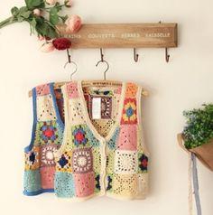 Crocheted vests like a crochet sampler