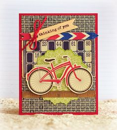 Bicycle card. Use Hero Arts Bicycle Flower stamp & fill basket with 'letter' envelopes.