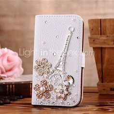 Locaa(TM) For LG Bling Case + Touch stylus + Anti-dust ear plug Deluxe Luxury Crystal Pearl Diamond Rhinestone eye-catching Beautiful Leather Retro Support bumper Cover Card Holder Wallet Cases -[General series] Eiffel Tower flower Flower Tower, Unique Iphone Cases, Galaxy Note 4, Cell Phone Accessories, Pu Leather, Samsung Galaxy, Card Holder, Diy, Pearls