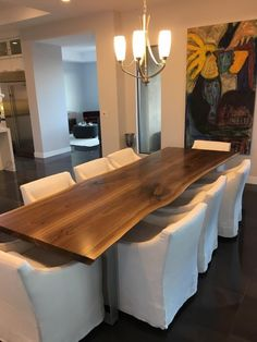 Do not fret about the style of your dining room too much when you are shopping for or custom ordering a live-edge table. While simple things like choosing a table with a light, even grain of wood for modern interiors while opting for tables crafted