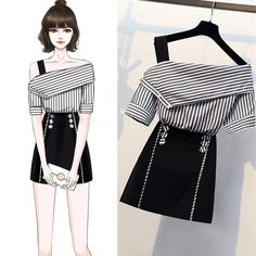 Striped shirts top and button a line skirt two piece button piece shirts skirt striped dressdrawing fashion figure template 10 head buy this stock vector and explore similar vectors at adobe stock adobe stock Kpop Fashion Outfits, Mode Outfits, Korean Outfits, Cute Fashion, Look Fashion, Stylish Outfits, Korean Fashion, Skirt Outfits, Ladies Fashion