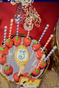 Vintage Inspired Snow White Themed Birthday Party via Kara's Party Ideas : Poison apple pops