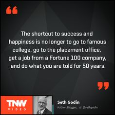 Seth Godin, the author of the book Icarus Deception shares the secret of success. Why is it better to be sorry than to be safe? Watch Seth Godin's talk on TNW Video.