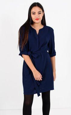Crepe CDC Shirt Dress Navy