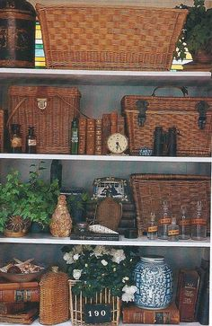 Basket for the Bookshelves  Love this!  Would not be looking forward to cleaning and dusting it all though!
