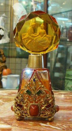 ANTIQUE CZECH JEWELED PERFUME BOTTLE