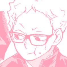 Tsukishima Kei, Haikyuu Karasuno, Haikyuu Manga, Manga Anime, Pink Wallpaper Anime, Baby Pink Aesthetic, Cute Anime Couples, Cute Icons, Kawaii Anime