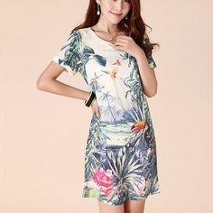 Fashion Floral Print Short Sleeve Chiffon Dress