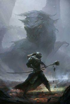 Credits to artist Fantasy Concept Art, Sci Fi Fantasy, Fantasy Warrior, Fantasy World, Fantasy Artwork, Dark Fantasy, Fantasy Dragon, Dragon Fight, Dragon Art