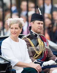 Prince Edward, Earl of Wessex and Sophie, Countess of Wessex ride by carriage during the Trooping the Colour, this year marking the Queen's official 90th birthday at The Mall on June 11, 2016 in London, England. The ceremony is Queen Elizabeth II's annual birthday parade and dates back to the time of Charles II in the 17th Century when the Colours of a regiment were used as a rallying point in battle.