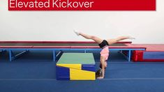 Elevated Kickover Two essential elements for the kick over in a back walkover are the head and shoulder position. It is essential to keep the head neutral an. Gymnastics Lessons, Boys Gymnastics, Gymnastics Coaching, Gymnastics Training, Back Walkover, All Star Cheer, Acro, Special Needs, Drills